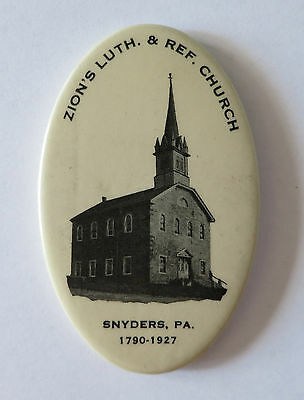 Zion's Luth. & Ref. Church Snyders, Pa 1790 - 1927 Vintage Pocket Mirror