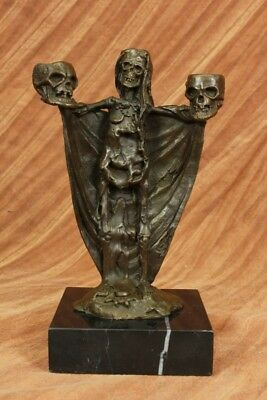Bronze Metal Skull Head Candle Holders Home Decor Hot Cast Sculpture Gifts Gift