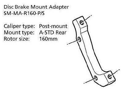 Shimano Disc Brake Adapter SM-MA-R160-PS Rear 160mm Rotor Post/A-STD Mount