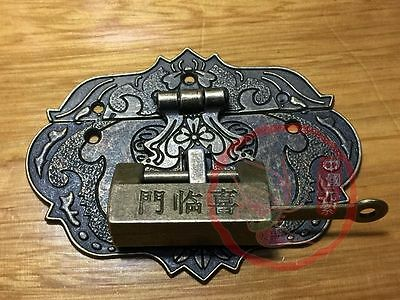 Chinese Old Fire Totem Lock Latch & Fortune Blessing Lock Key For Jewelry Box