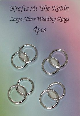 4 Double Silver Wedding Ring Embellishments for cards crafts and invitations