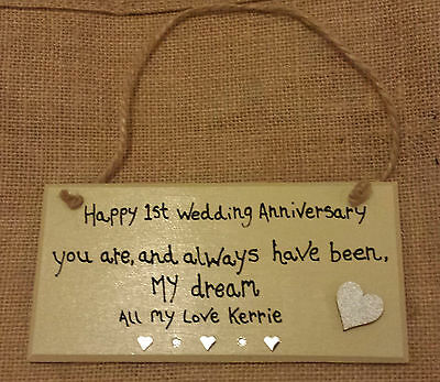HAPPY WEDDING ANNIVERSARY Personalised Heart 1St 2Nd 3Rd 25Th 30Th 40Th  5Oth Etc