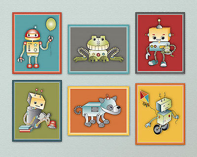 Robots Play Nursery/Kids/Baby Wall Art/ Bedroom Decor. red, yellow, blue, green