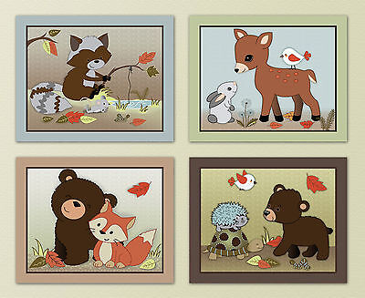 Forest Friends, Woodland Animal, Owl/Fox Kids/Baby/Nursery Art Prints.Wall Decor