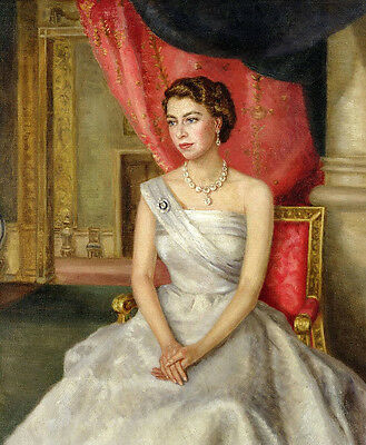 Dream-art Oil painting of a young H.R.H. Queen Elizabeth II of Great Britain art