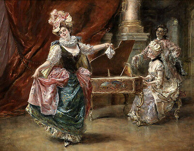 Stunning Oil painting portraits young Pianist with young noblelady dancer canvas