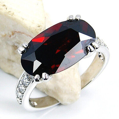 """PASSION'S FLAME"" GARNET, WHITE TOPAZ & .925 SILVER RING SIZE 5.5; GIFT Q164"