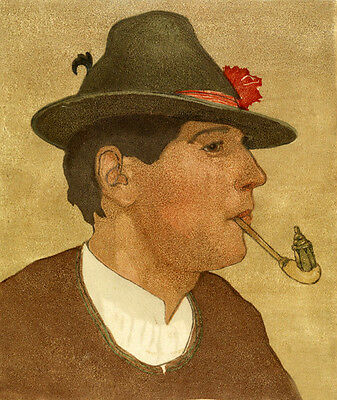 Charming Oil painting man wearing hat smoking pipe handpainted only canvas