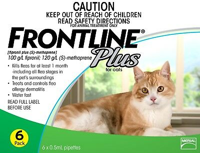 Frontline Plus Flea and Lice Control for Cats 6 Pack *BONUS 3 MONTHS*