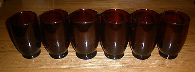 6 Royal Ruby Anchor Hocking Vintage Footed Tumblers 10 oz 4 1/2 inches
