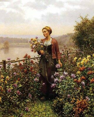 Wonderful Oil painting Young Woman in a Garden landscape by river