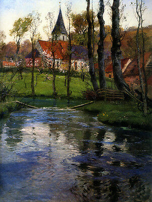 Oil painting Frits Thaulow - The Old Church by the River dusk landscape & trees