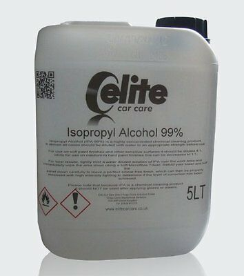 Elite Professional Grade 1 Isopropyl Alcohol 99% (IPA) - 5 Litre - Detailing