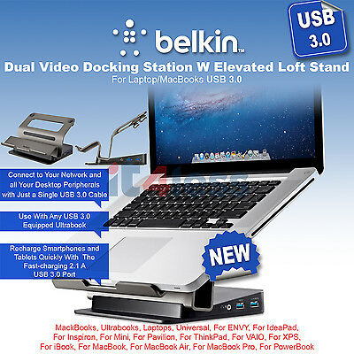 Belkin USB 3.0 Dual Video Docking Station W Elevated Loft Stand Laptop/MacBooks