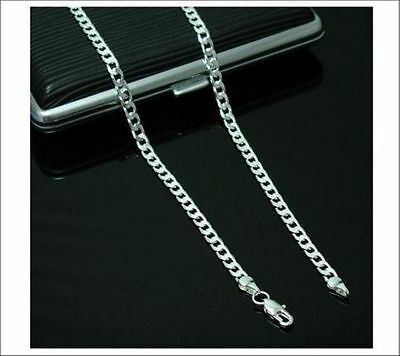 """New Curb Silver Chain Necklace 4mm 16"""" 18"""" 20"""" 22"""" 24""""  Wholesale JobLot"""