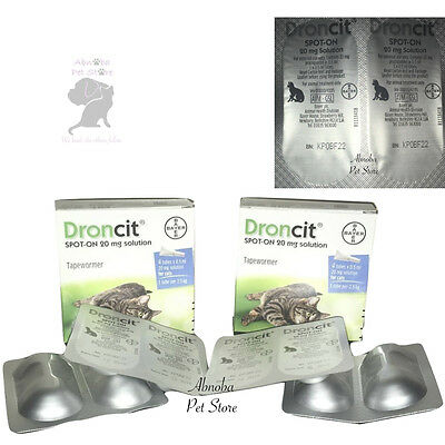 Droncit Spot On Wormer Treat Tapeworm Cat kitten 1kg - 4 TUBES + MULTIBUY OFFER