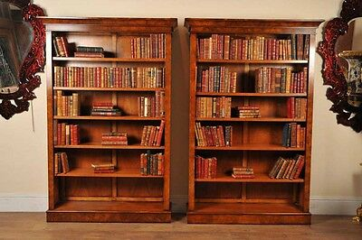 Pair Walnut Victorian Bookcases Open Book Case