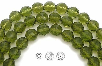 """Czech Fire Polished Round Faceted Beads in Olive Green color 16"""" strand"""