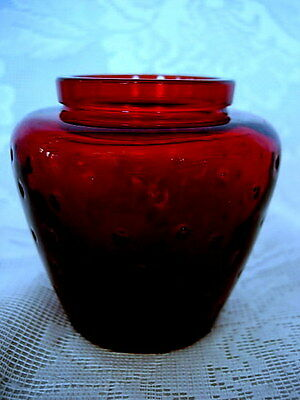 Collectible Vintage Ruby Red Glass Strawberry Shaped Vase