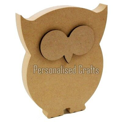 Free Standing Wooden MDF Owl Shape 150mm High