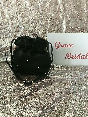 BLACK DUCHESS SATIN DOLLY BAG BRIDAL BRIDESMAID PROM FLOWER GIRL *free swatches*
