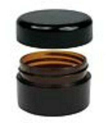 20 x 20g Amber Plastic Lip Balm Small Sample Cosmetic Jars Container + Black Cap