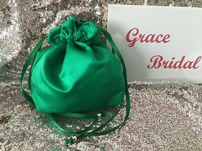 EMERALD GREEN SATIN DOLLY BAG BRIDESMAID PROM FLOWER GIRL BNIP ** free samples*