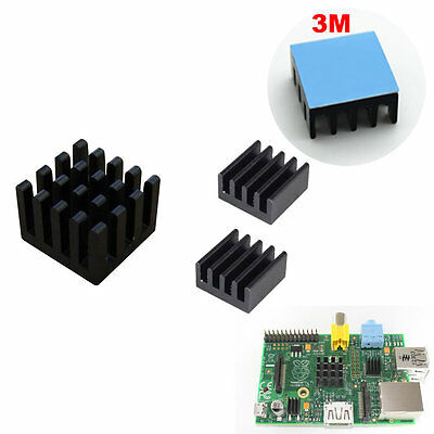 3pcs black color Adhesive Aluminum Heatsink kit w/ Thermal Pad For Raspberry Pi