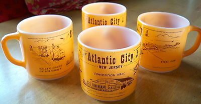 SET 4 Federal Glass Coffee Cup Mug * ATLANTIC CITY * NEW JERSEY Convention Hall