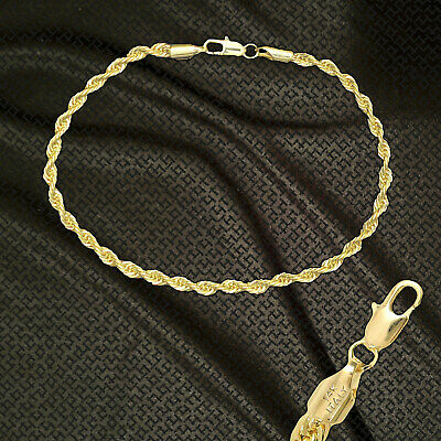 """14K ITALY GOLD PLATED 3mm ROPE CHAIN 9.5"""" QUALITY ANKLET BRACELET GUARANTEED R3C"""