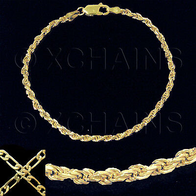 """NEW LADIES 7"""" FRENCH ROPE BRACELET GOLD ON 1/5 OZ SOLID STERLING SILVER #280"""