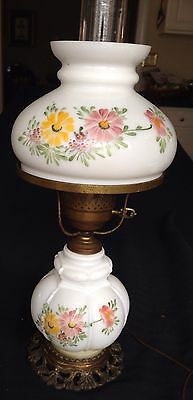 """Antique Electrified Handpainted Oil Lamp With Matching Shade 20""""  Beautiful"""