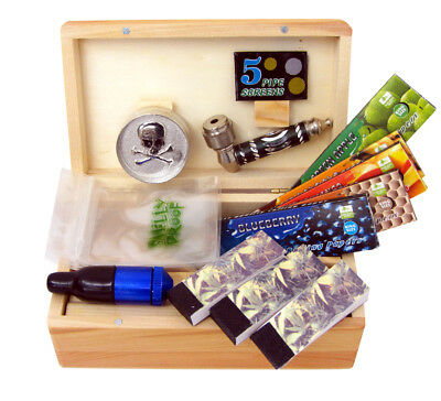 Wooden Box Rolling Gift Set Tray Herb Grinder Rolling Paper Stash Storage