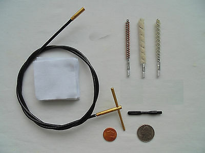 cleaning kit for rifle .22 ca, cable, spiral brass nylon brushes, mop, pouch etc