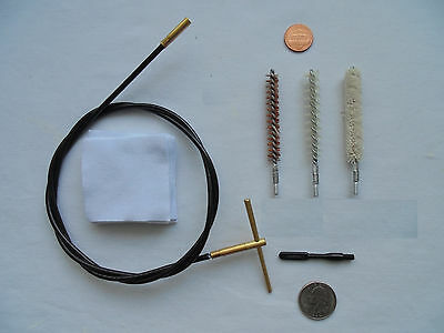 rifle cleaning kit, .30 ca, cable, spiral brass nylon brushes, pouch etc.