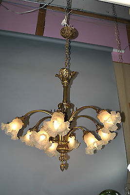 Antique Ornate Bronze Arched Nine Arm Chandelier Light Fixture w Feather Details