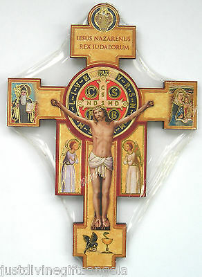 """St Benedict Wood Cross 6"""" or 9"""" Wall Hanging Wooden Crucifix"""