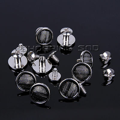 Silver Wavy Round Flat Spikes Metal Studs Rivets Screwback Leather 100PCS Screw