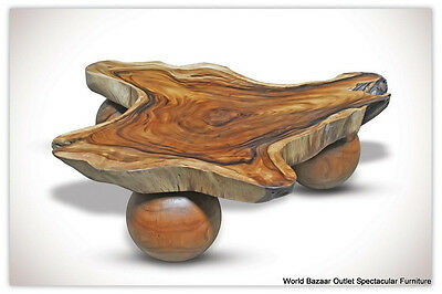 """43"""" L Cocktail Table Free Form Acacia Wood Natural Grain Smooth Finish Amazing!"""