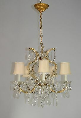 Antique Venetian Crystal Five Arm Chandelier Light Fixture