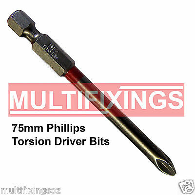 5pcs x 75mm Powers Magnetic Torsion Phillips PH2 Head Driver Bit