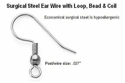 100 French Ear Wire Hooks Hypo-Allergenic Surgical Quality Stainless Steel