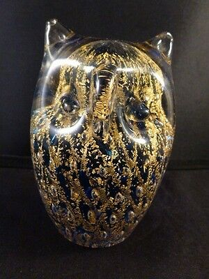 Murano OWL Paperweight Vintage blue / gold   Color Italian