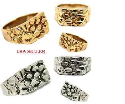 New! Nugget Ring High Quality 14KT Gold & Silver Finish Hip Hop Pinky Ring