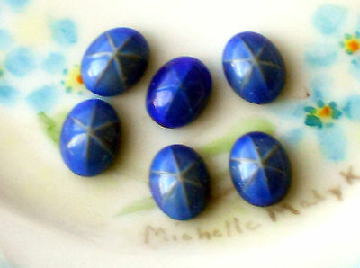 #573 Vintage Cabochons Oval Star Blue 8x10mm Sapphire NOS Midnight Stars Cabs