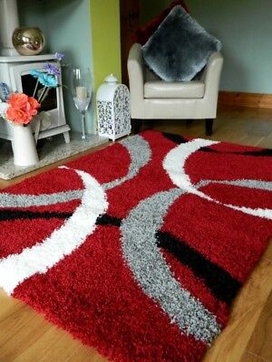Small X Large Red Black Cream Grey Thick Soft Quality Shaggy Pile Rug Carpet Mat
