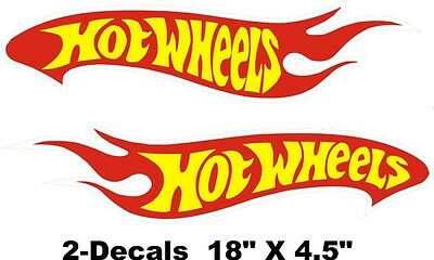 """2 Hot Wheels Decals Car Sticker Red Yellow and White Vinyl New 18""""x4.5"""" each"""