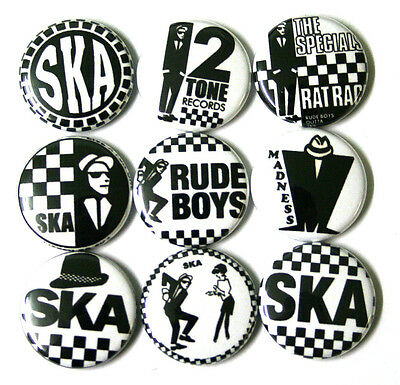 SKA Punk Badges Buttons Pins x 9 Madness The Specials 2 Tone