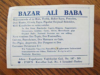 1950s Bazar Ali Baba Store Business Trade Card Istanbul Turkey Souvenir Ad