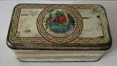 Early 1900's Needlepoint Tin Can By Metal Package Corp. Of New York
